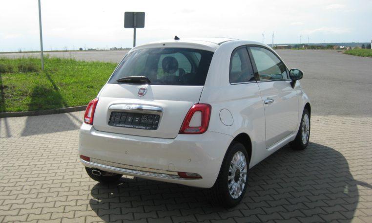 Fiat 500 Gelato Weiß Ansicht hinten rechts